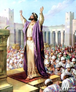 Temple Priest leads the faithful in worship in the Ancient Kingdom of Israel