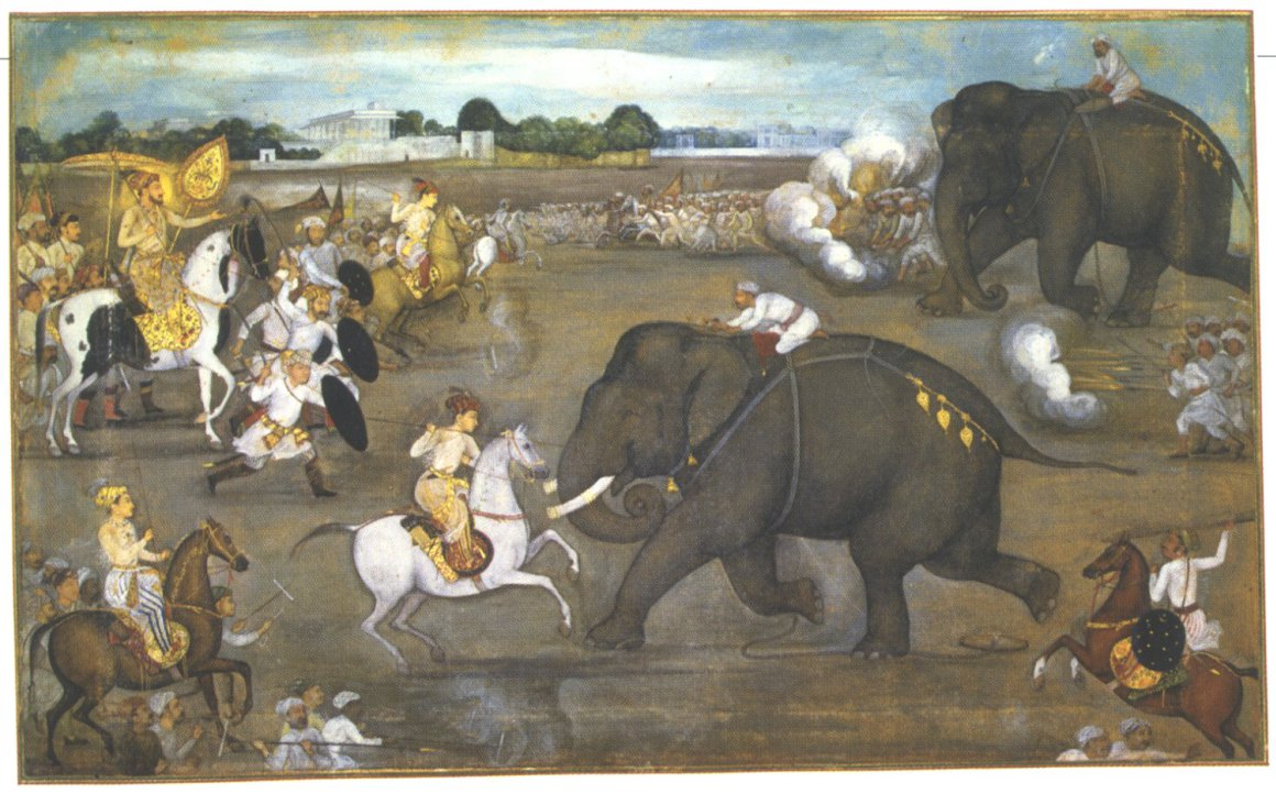Prince_Awrangzeb_Aurangzeb_facing_a_maddened_elephant_named_Sudhakar_7_June_1633